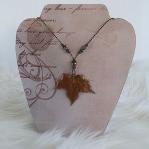 Handmade Jewelry - Artisan Made Preserved Maple Leaf Pendant Necklace